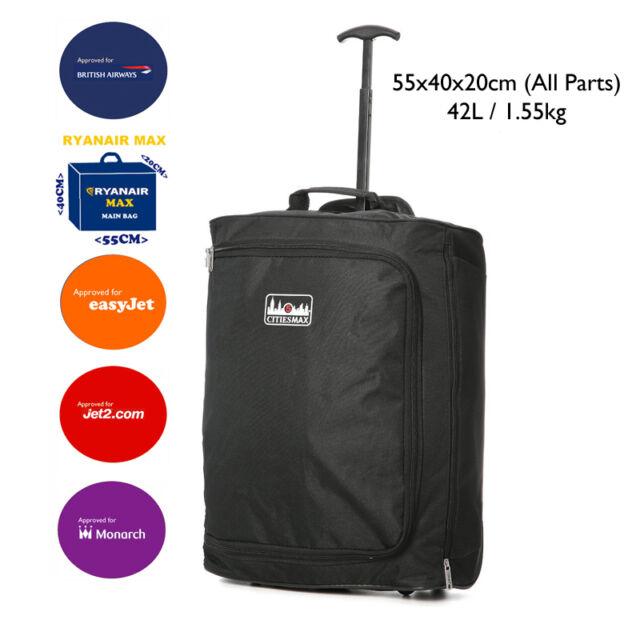 55x40x20 Ryanair Maximum & Easyjet Approved Hand Cabin Luggage Trolley Bag, 42L