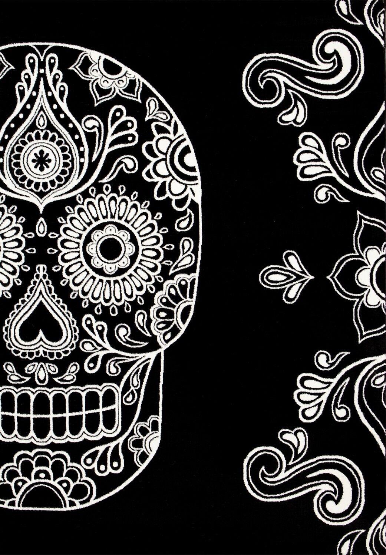 Designer Teppich Modern Schwarz Weiß Kunstvoll Totenkopf Motiv Motiv Motiv - NEU | Ruf zuerst  008a8a