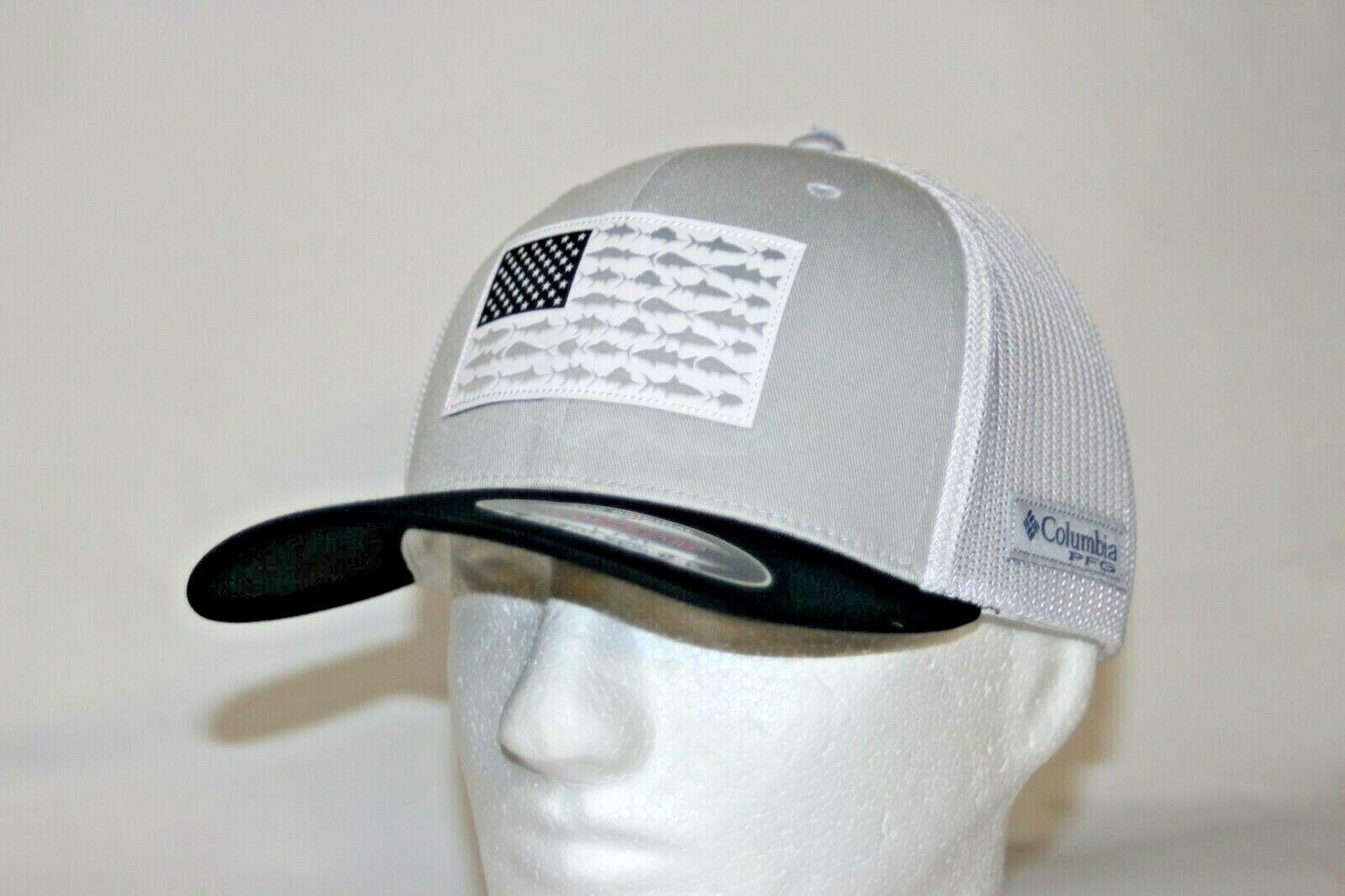 Columbia PFG Fish Flag Mesh Fitted Flexfit Ball Cap in Grey White L//XL 7-7 3//4