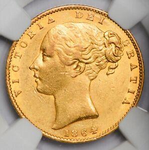 HIGH GRADE N.G.C. AU-58 1864 Queen Victoria Gold Shield Sovereign -Die Number 75