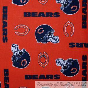 BonEful-Fabric-FQ-Cotton-Quilt-NFL-Sport-US-Foot-ball-Chicago-BEARS-Blue-Helmet