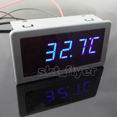 """0.56/"""" F//C Blue LED Digital 12V DC Car Meter Thermometer Motor DS18B20 Sensor"""