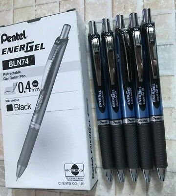 Pentel Energel 0.4mm Needle Tip Retractable Gel Pen BLACK BLN74 x  5 pcs