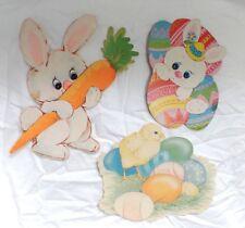 Vintage 1980\u2019s Set of 2 Eureka Spring Easter Bunny Die-Cut Decorations ***Free Gift Wrap!***