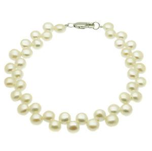 Pearl-Bracelet-Cultured-Freshwater-Pearls-Sterling-Silver-White-Black-Pink-Multi