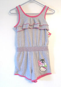 Hello-Kitty-and-Friends-Girls-Romper-Shorts-Gray-and-Pink-Size-Large-12-NWT