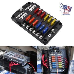 Universal 12 Way Fuse Box Block Fuse Holder Car Vehicle Circuit Auto Blade Led Ebay