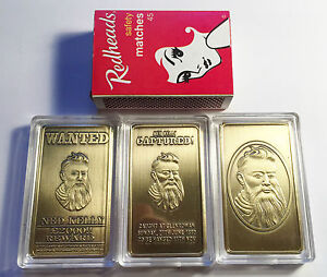 034-NED-KELLY-034-Wanted-Set-Of-3-x-1oz-Ingots-Finished-in-999-24k-Antique-Gold
