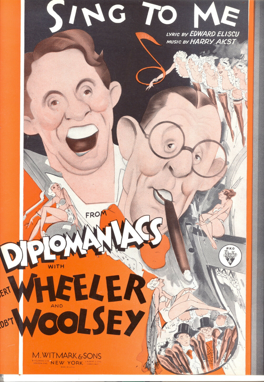 DIPLOMANIACS Sheet Music  Sing To Me  Wheeler & Woolsey