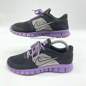 Nike-Free-Run-3-Black-Reflect-Silver-Iris-Purple-Running-512098-002-Size-6Y