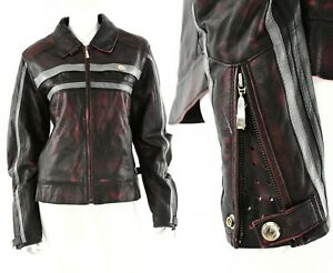 Womens 14 Hein Gericke Red Distressed Leather Motorcycle Jacket