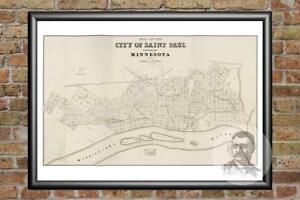 Old-Map-of-St-Paul-MN-from-1860-Vintage-Minnesota-Art-Historic-Decor