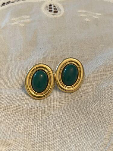 Vintage Monet Green Enamel Gold Tone Button Stud E