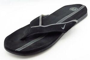 Black Flip Flop Synthetic Men Shoes