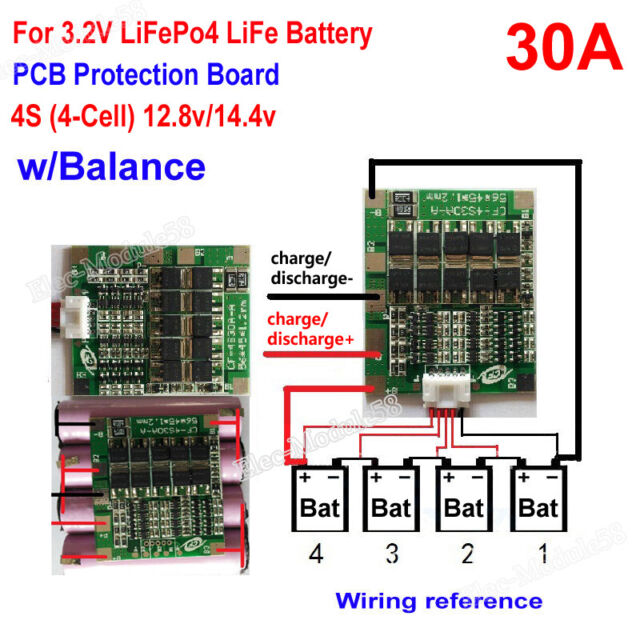 3S 4S 5S 100A w//Balance BMS Protection PCB Board 3.2V LiFePo4 LiFe 18650 Battery