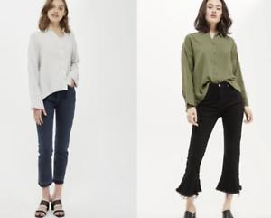 P42 Ex Topshop Khaki Grey Oversized Slouch Crinkle Cotton Shirt Size 6-16