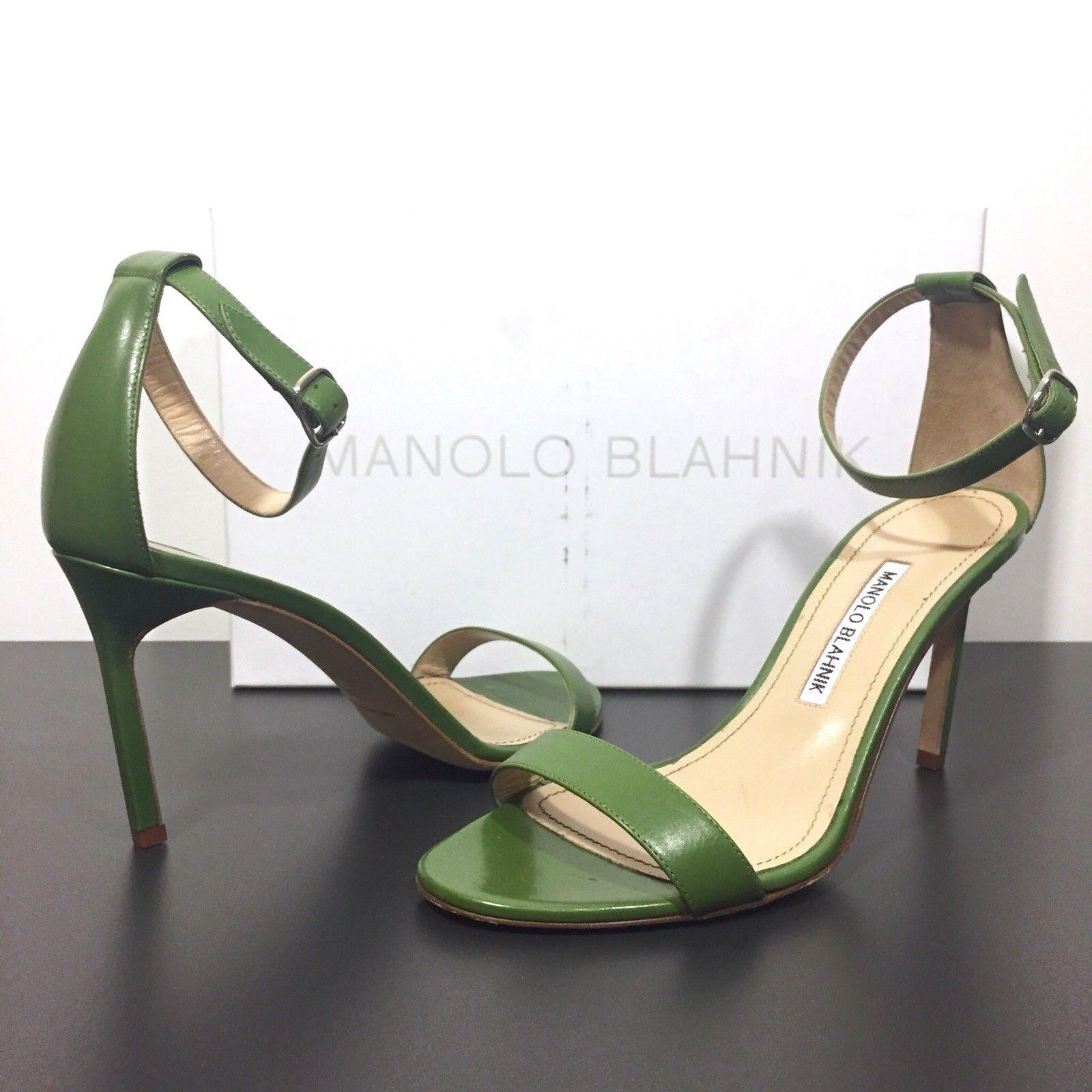 Manolo Blahnik caos y Correa en el el el Tobillo Zapatos De Taco Sandalias verde 37.5 (MSRP  980)  diseñador en linea