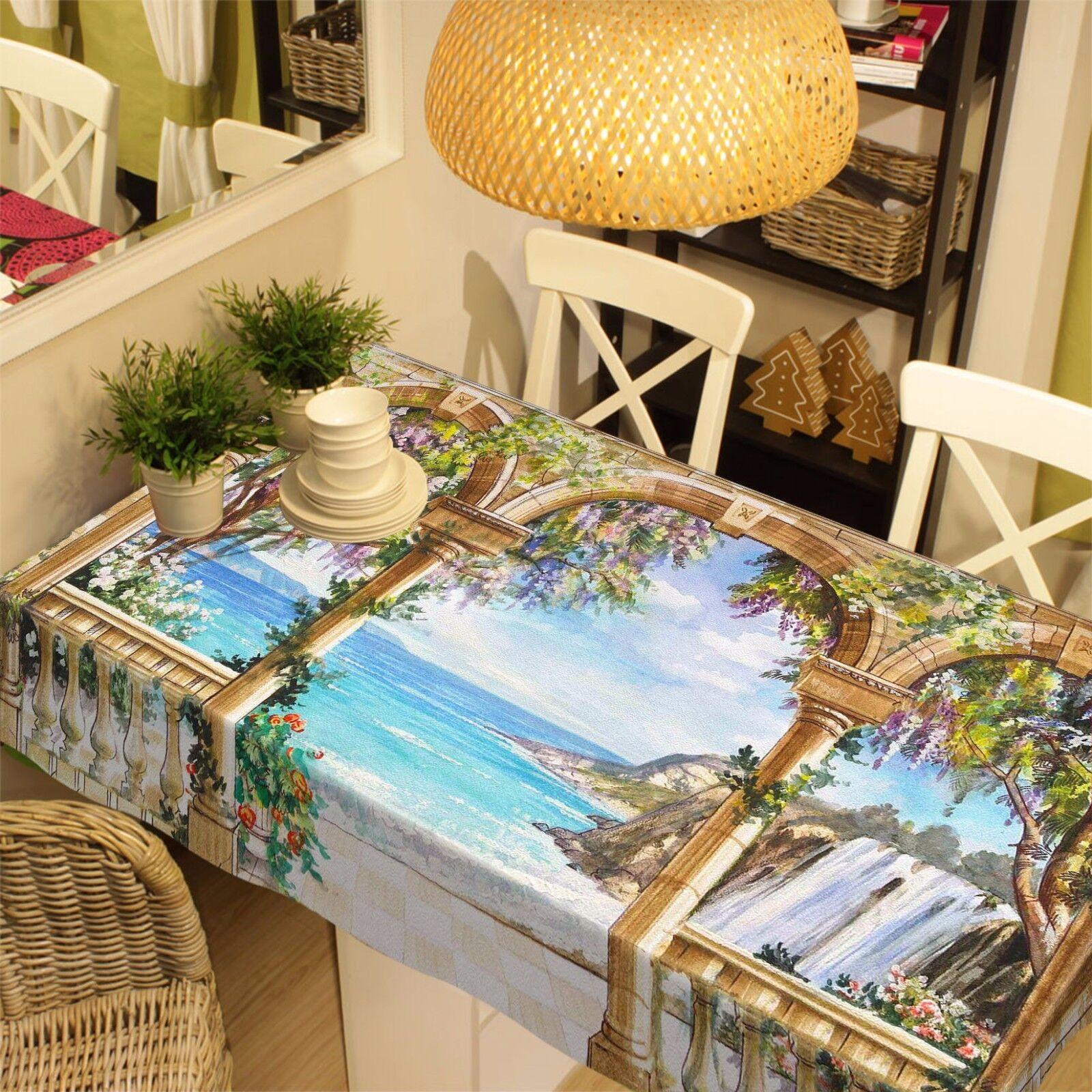 3D Arch mer Nappe Table Cover Cloth fête d'anniversaire AJ papier peint Royaume-Uni Citron
