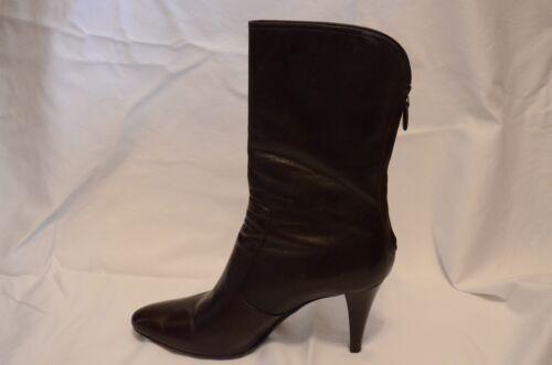 Cole Haan long zipper leather boots dark brown