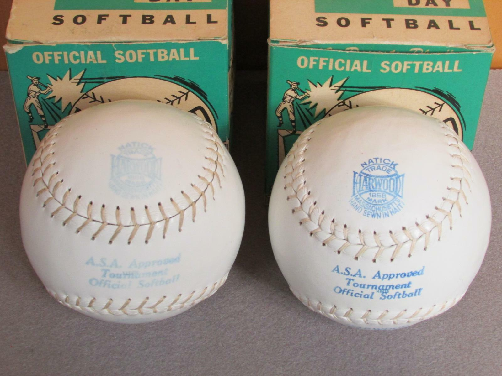 Vintage Harwood & Sons Leder Offiziell Softball Softball Softball Paar 12   W Kisten Neu Baseball 16d33d