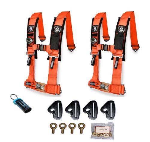 Pro Armor 4 Point 3 Padded Seat Harness Pair Mount Kit Bypass Orange Maverick X3