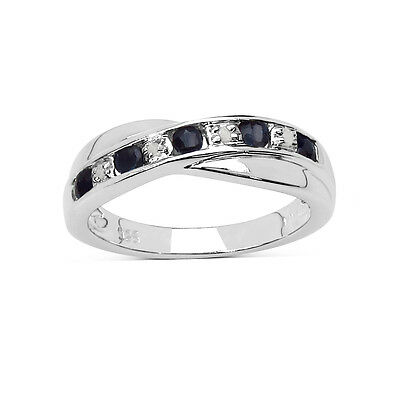 STERLING SILVER SAPPHIRE & DIAMOND CHANNEL SET ETERNITY RING ANNIVERSARY GIFT