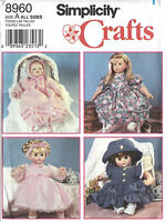 12-22 Baby Doll Clothes 3 Sizes S-l Simplicity 8960 Sewing Pattern Uncut ©1999