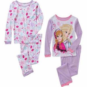 NEW Disney Girls/' Frozen Elsa Anna 4 Piece Cotton Pajama Set SZ 4 T 5 T 6