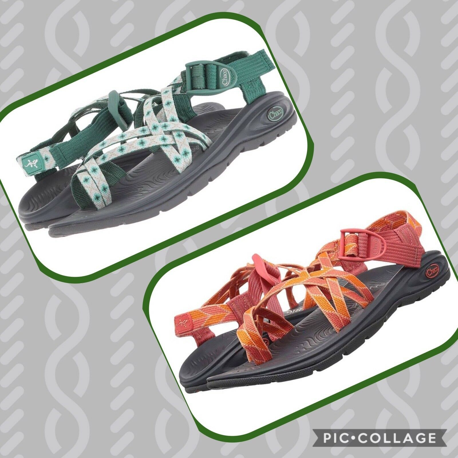 NIB Chaco Zvolv X2 Sandals Women's Sz 8 Green Diamond Pine Verdure Peach orange