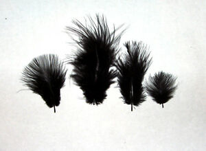 "Marabou Feathers Small 1-3"" fluffs BLACK 7 grams approx. 105 per bag"