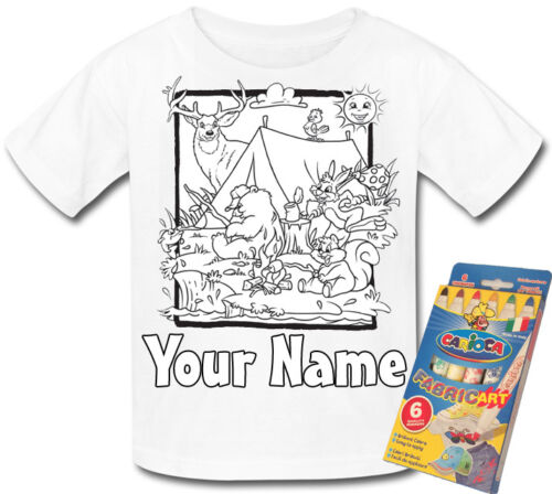 WOODLAND ANIMALS CAMP PERSONALISED COLOUR IN YOUR OWN T-SHIRT *FUN GIFT /& NAMED*