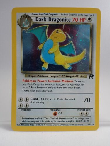 Holo Dark Dragonite Pokemon Card, 2000 Team Rocket Set, 5/82