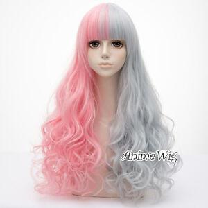 Harajuku-Lolita-Long-Curly-Bang-Women-65CM-Pink-Mixed-Gray-Party-Cosplay-Wig-Cap