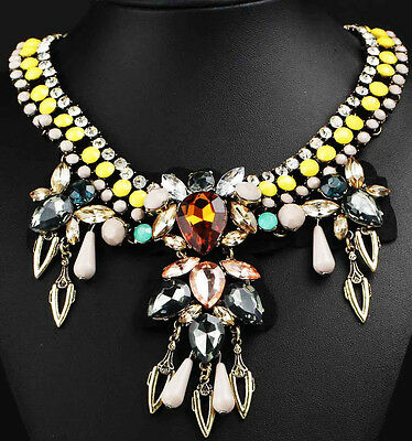 gorgeous pentand Crystal Bib Statement charm chunky colorful collar Necklace 736