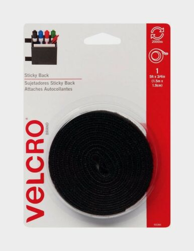 VELCRO Hook /& Loop Fastener 5 ft x 3//4 in W Black Adhesive Sticky Backing 90086