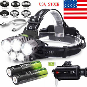 160000LM-5X-T6-LED-Headlamp-Rechargeable-Headlight-18650-Flashlight-Head-Torch