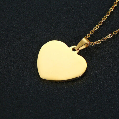 Custom Engraved Love Heart Tag Pendant Women Necklace Chain Gift Stainless Steel