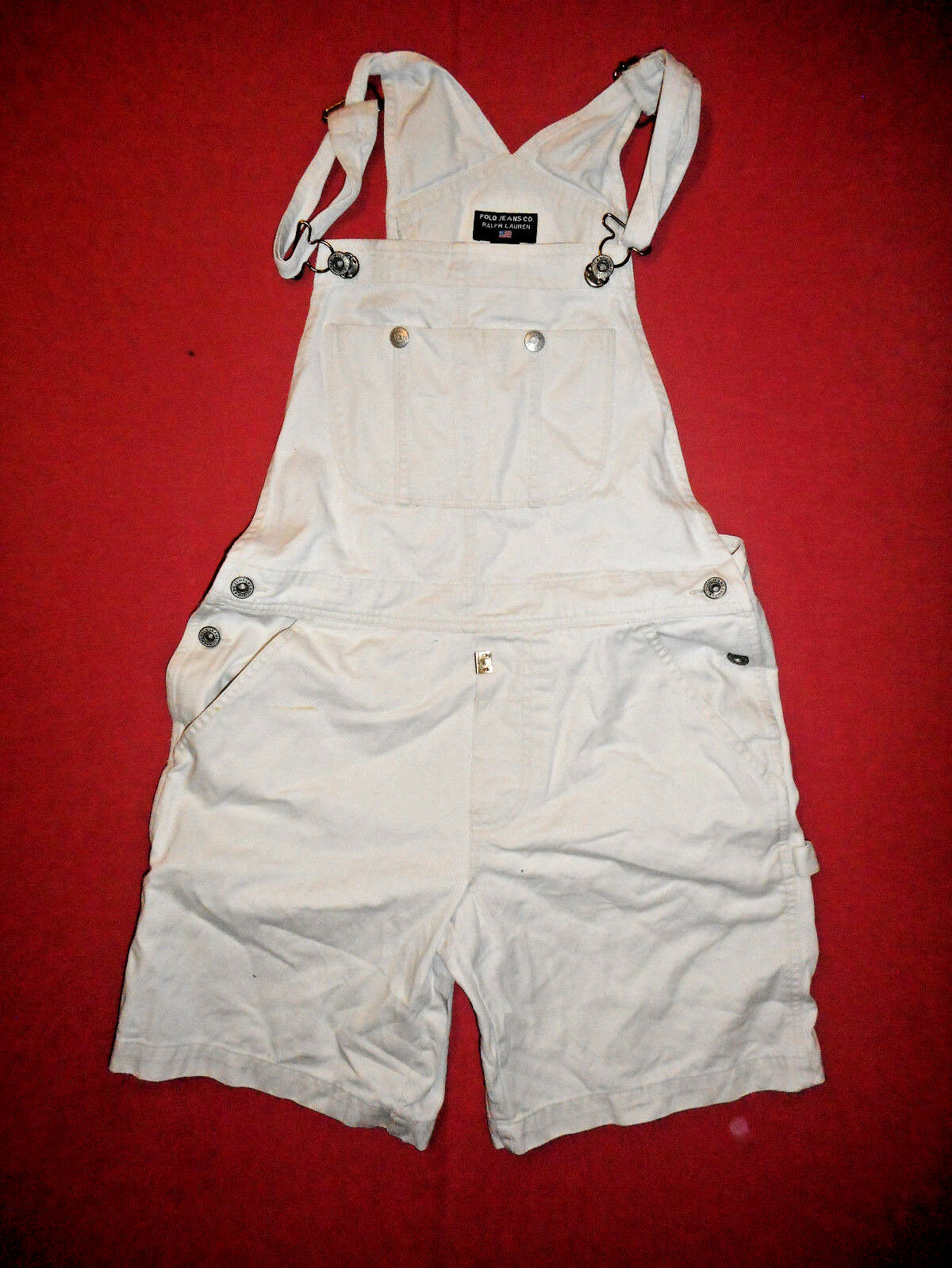 Polo Ralph Lauren Size Small  - Ladies White Denim Jean Dungarees Shorts - X369