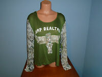 Womens Size Large Just Ginger Camp Real Tree Camouflage Hooded T Shirt Top