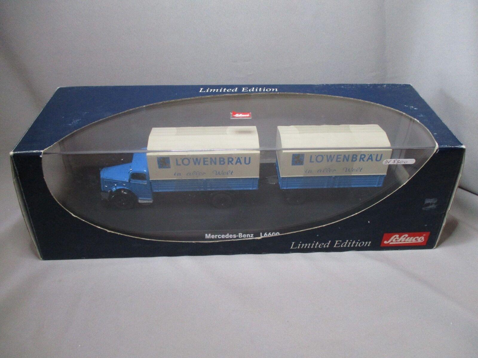 DV8300 SCHUCO 1 43 MERCEDES BENZ L6600 MIT ZWEIACHS ANHANGER LOWENBRAU Ref 03017