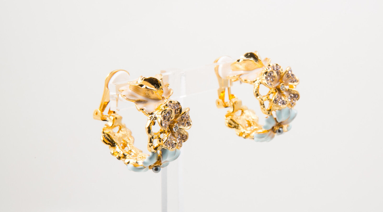 Kenneth Jay Lane gold Multi White Flower Bug Clip Hoop Earrings