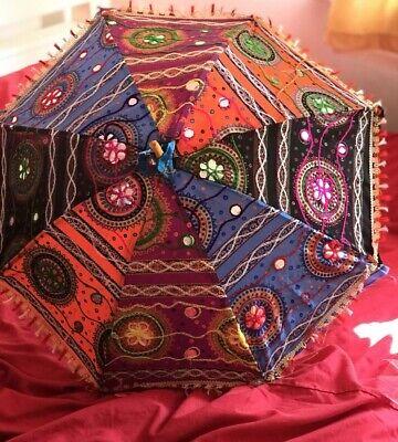 Abile Ombrello Indiano Decorativo Parasole Ricamato ❤ Rajasthani Sole Ombra Uk Post-ajasthani Sun Shade Uk Post It-it Mostra Il Titolo Originale Lustro