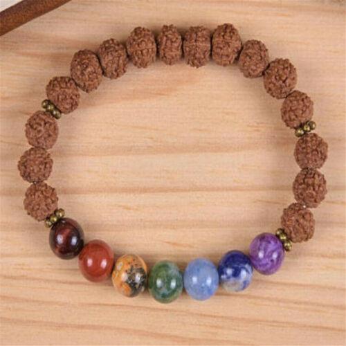 8 mm Rudraksha 7 CHAKRAS Bracelet Gemstone Bracelet hommes Healing Sutra Perles Chakras