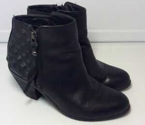 e45848539 Image is loading Sam-Edelman-Black-Leather-Studded-Lucille-Ankle-Boots-