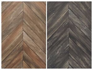 Image Is Loading Chevron Rustic Wood Plank Parisian Dark Gray Brown