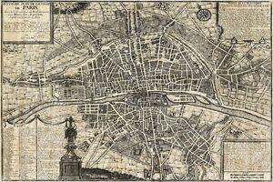 Huge historic 1705 PLAN DE PARIS CITY WALL MAP OLD ANTIQUE ...
