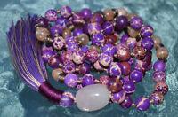 Purple Sea Sediment Jasper Knotted Mala Beads Necklace - Harmony In Relationship