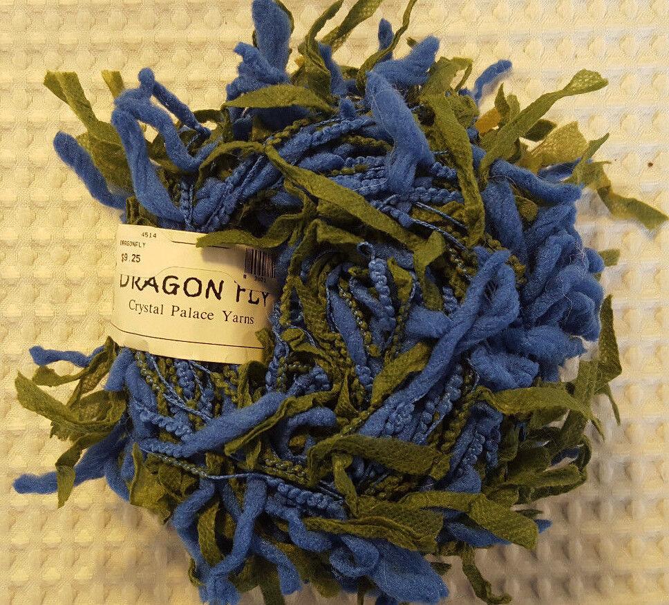 Blue Green Chunky Eyelash Novelty Discontinued Crystal Palace Yarn DragonFly