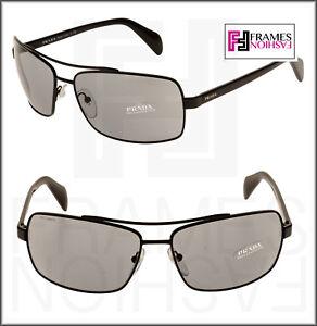985310e3c476 PRADA Black Grey Square Aviator Sunglasses Men PR55QS 55Q 53 mm 7AX ...