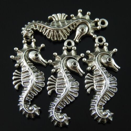 25pcs Vintage Silver Alloy  Sea Horse 34*15*3mm Pendant Charms 38313
